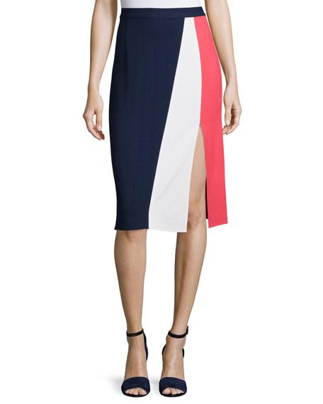 Tanya Taylor Gigi Colorblock Skirt, Navy/Pink/White