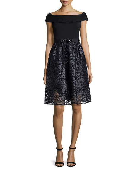 Rickie Freeman for Teri Jon Off-the-Shoulder Combo Lace