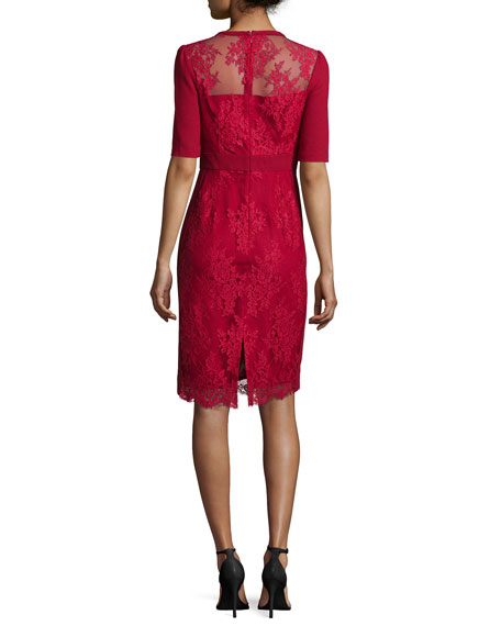 Image 2 of 2: Short-Sleeve Lace Sheath Cocktail Dress