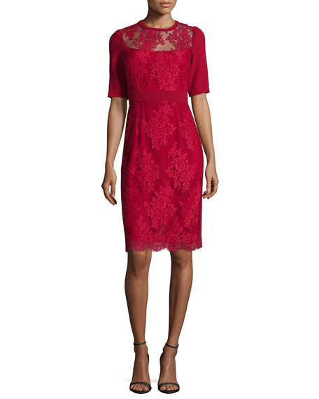 Image 1 of 2: Short-Sleeve Lace Sheath Cocktail Dress