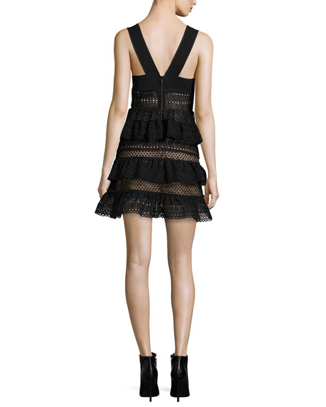 Sleeveless Tiered Lace-Front Dress, Black