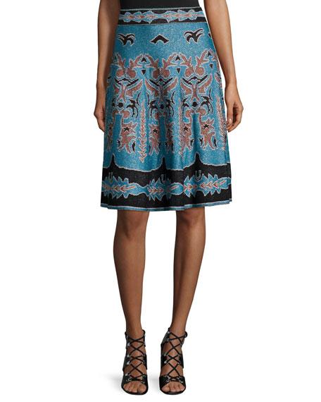 M Missoni Metallic Jacquard A-line Skirt