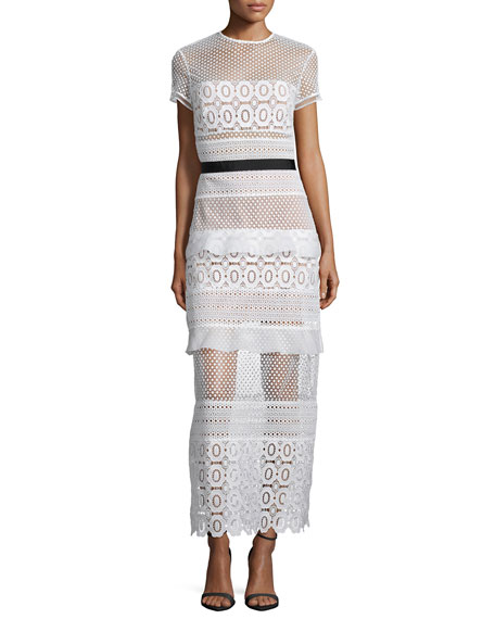Self Portrait Oblique Lace Column Dress, White