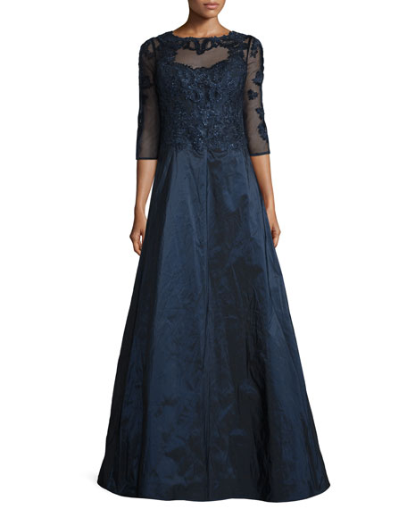 Rickie Freeman for Teri Jon3/4-Sleeve Embroidered Lace &