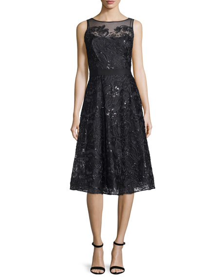 Sleeveless Lace Belted Flared Dress