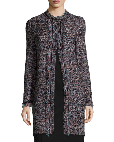 M Missoni Long-Sleeve Crochet Jacket W/Fringe, Black