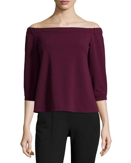 3/4-Sleeve Off-the-Shoulder Top, Wine