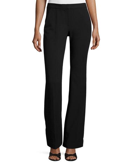 Tibi Slim-Fit Boot-Cut Pants, Black