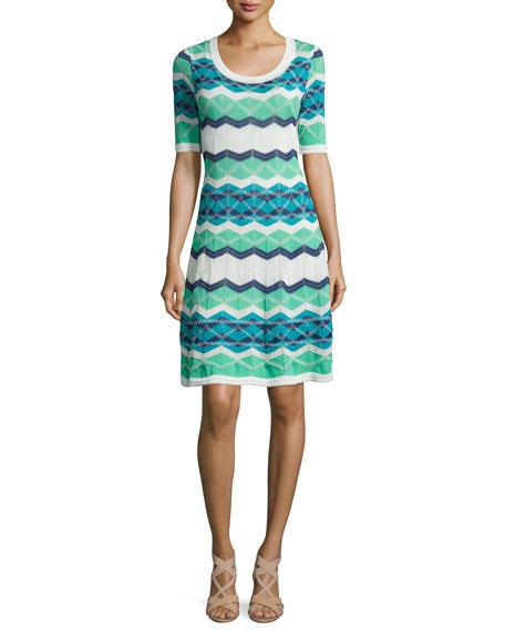 M Missoni Vanise Zigzag Half-Sleeve Dress