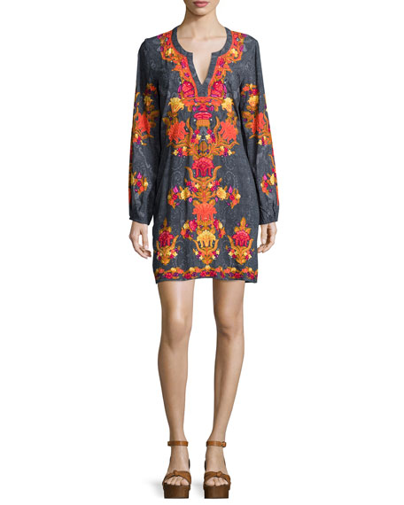Hemant and Nandita Long-Sleeve Split-Neck Mini Dress, Shawl