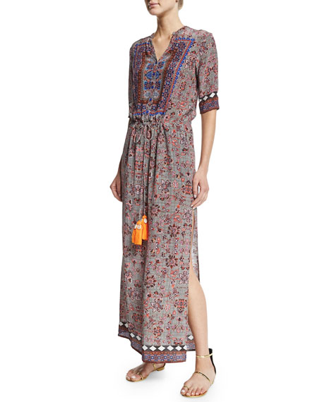 Hemant and NanditaHalf-Sleeve Carpet-Print Midi Dress, Gray