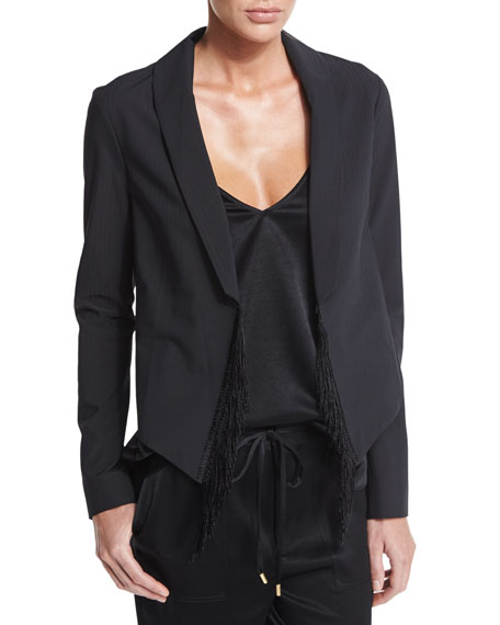 Derek Lam 10 Crosby Fringe-Trim Ponte Jacket, Black