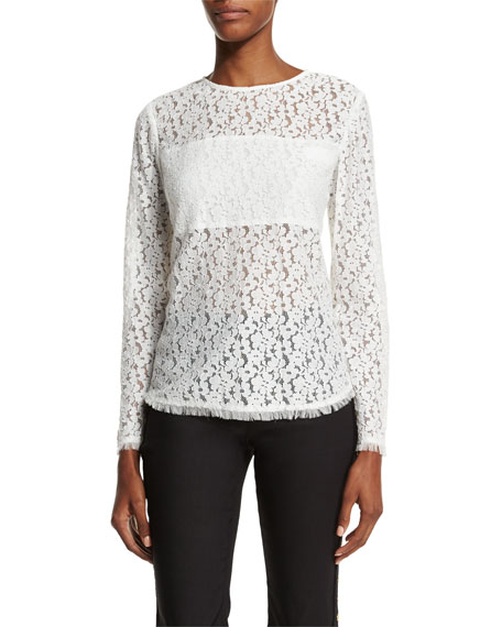 10 Crosby Derek Lam Long-Sleeve Lace Blouse, Cream