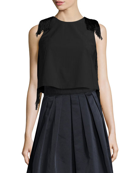 Derek Lam 10 Crosby Sleeveless Fringe Crop Top,