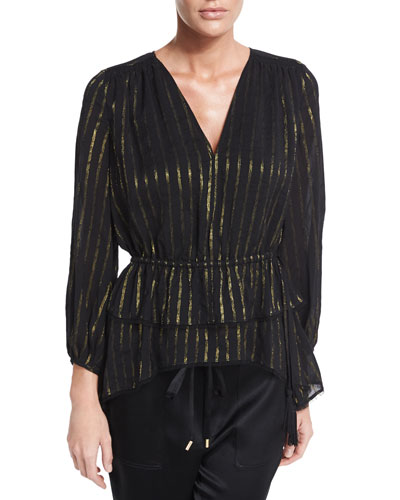 Striped Ruffle Blouse, Black/Gold