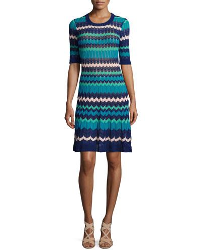 Colorblock Half-Sleeve Zigzag Dress