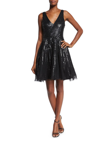 Parker Black Theater Sleeveless Sequined Fit & Flare Dress