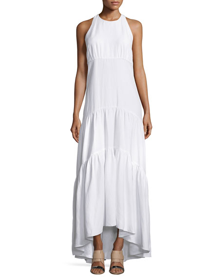 L'Agence Talia Woven Racerback Maxi Dress, White