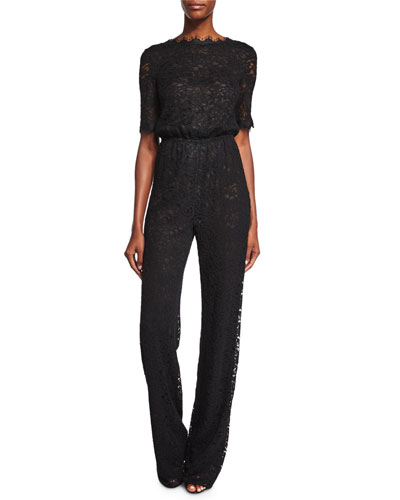 Kendra Scalloped-Lace Jumpsuit, Black