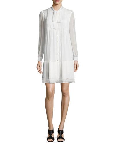 Waverly Silk Button-Front Shift Dress, Ivory