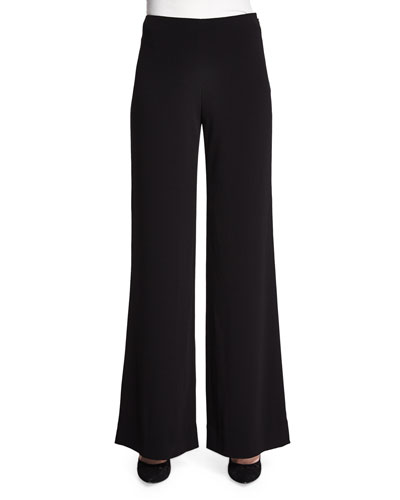Preston Wide-Leg Crepe Pants, Black