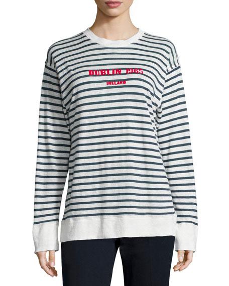 Etoile Isabel Marant Kyall Striped Linen Dublin Sweater, White/Blue