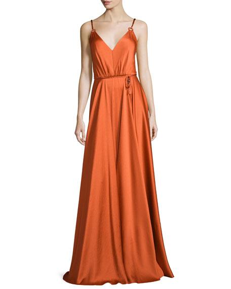 Sleeveless V-Neck Belted Gown, Sacred Orange