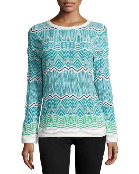 M Missoni Frequency Zigzag Long-Sleeve Top