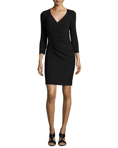 Eliana Ruched Sheath Dress, Black