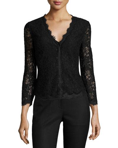 Bria Scalloped-Lace Cardigan, Black