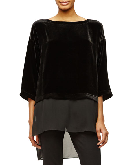 Eileen Fisher Washable Velvet Top with Sheer Blocking, Petite