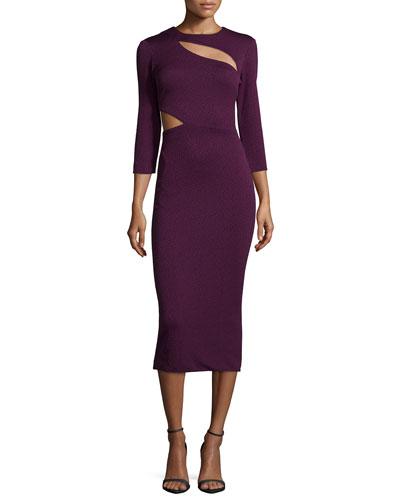 Virginia 3/4-Sleeve Cutout Dress, Plum
