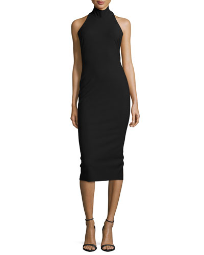 Kara Halter-Neck Fitted Dress, Black
