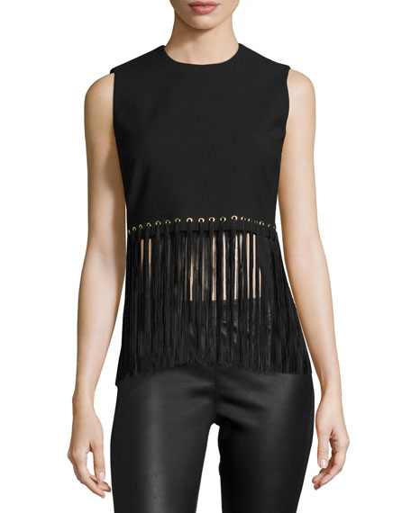 Elizabeth and James Piers Sleeveless Fringe-Hem Top, Black