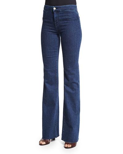 High-Rise Tailored Flare-Leg Jeans, Allegiance