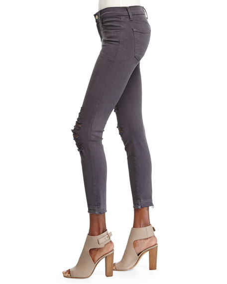 Low-Rise Distressed Cropped Jeans, Demented Gray