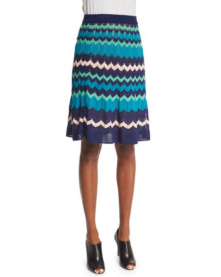 M Missoni Colorblock Zigzag A-Line Skirt, Marine