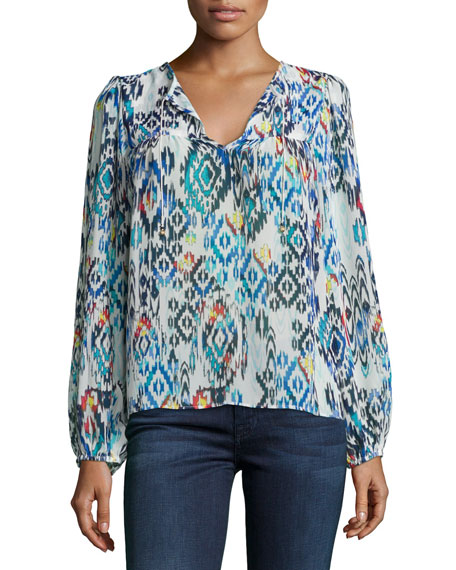 T Bags Tribal-Print Long-Sleeve Peasant Blouse, Multi Colors