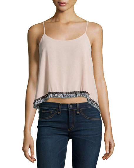 T BagsFringe-Trimmed Tank Top, Dusty Rose