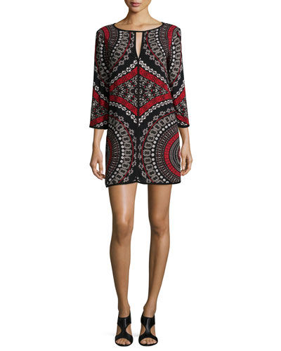 Long-Sleeve Printed Romper, Black