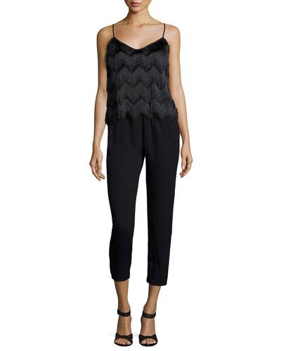 Sleeveless Fringe-Top Jumpsuit, Black