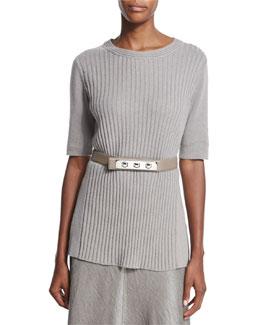 Skinny Triple-Toggle Belt, Brandy