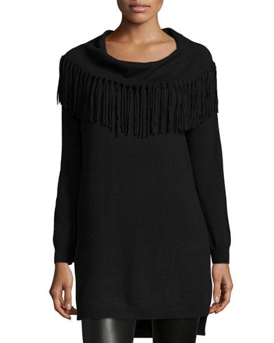 Fringe-Trim Cowl-Neck Sweater, Black