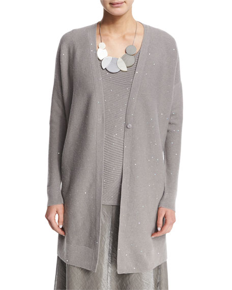 Lafayette 148 New York Sequined Long Cashmere Cardigan