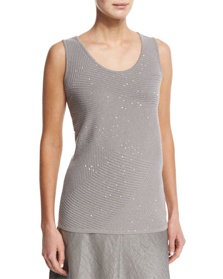 Lafayette 148 New York Sequined Ribbed Cashmere Shell