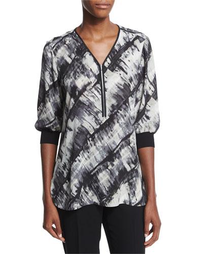Tiara Half-Sleeve Zip-Front Printed Blouse