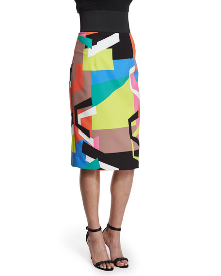 Milly Graphic-Print Midi Pencil Skirt