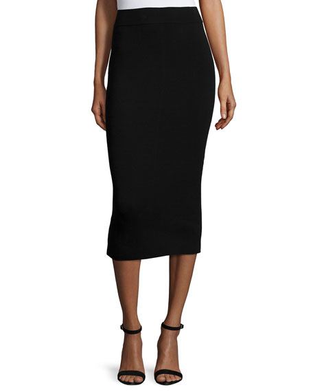 Milly Fitted Midi Pencil Skirt
