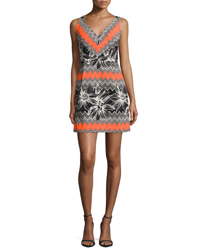 Milly Sleeveless Tropical-Print Dress