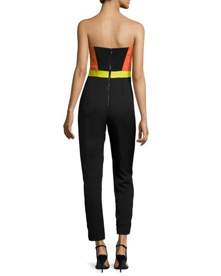 Strapless Bustier Colorblock Jumpsuit